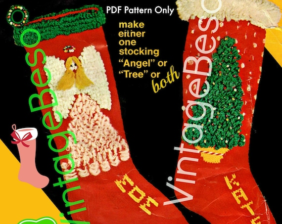 Angel and Tree Stocking Knitting Pattern • 1960s Vintage Knit Pattern • PDF STOCKING Pattern • Retro Christmas Knitting • Instant Download