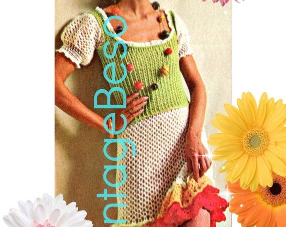 Gypsy Dress Crochet Pattern • Spain Inspired • Feminine Ruffles • you feel like dancing the Flamenco Vintage 1970s • Watermarked PDF Only