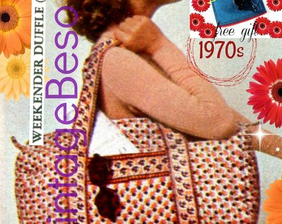 "Bag SEWING PATTERN • Weekender Duffle Bag + Free Sunglasses Case • Vintage 1970s Bag • Sewing Pattern • 10"" x 22"" • Watermarked PDF Only"