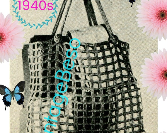 Market Bag CROCHET Pattern • Vintage 1940s • Rosie the Riveter crocheted • Satisfyingly Simple Stylish and Useful • Watermarked PDF Only