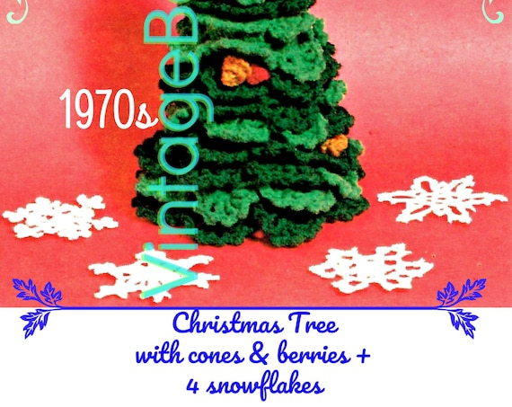 Christmas Tree Crochet Pattern • Plus Snowflake + Branches + Cones + Berries • Vintage 1970s RARE Hard to Find • Watermarked PDF Only