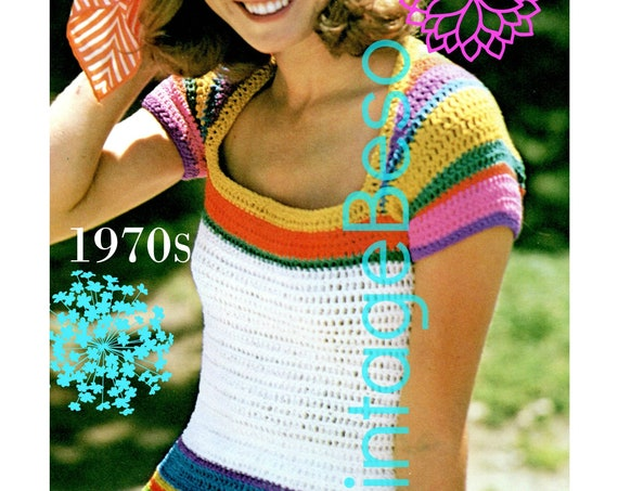 Top Crochet PATTERN Vintage 70s Rainbow • Summery • Rainbows and Day Dreams • Ladies Stripe Summer • Cap Sleeve • Watermarked PDF Only