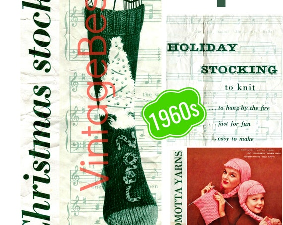 Instant Download • Easy to Make • Holiday Stocking Knitting Pattern • Classic Christmas • Nomotta • 1960s Vintage Knit Pattern • Retro