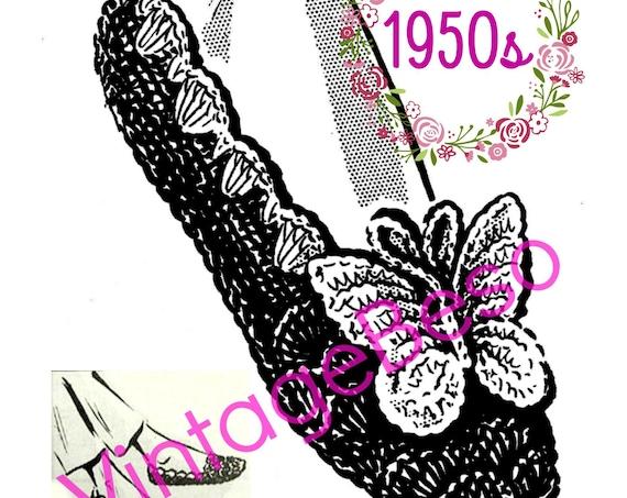SLIPPERS Crochet Pattern • 1950s Vintage House Slippers Crochet Pattern • Butterfly Pattern House Shoes Pattern • Watermarked PDF Only