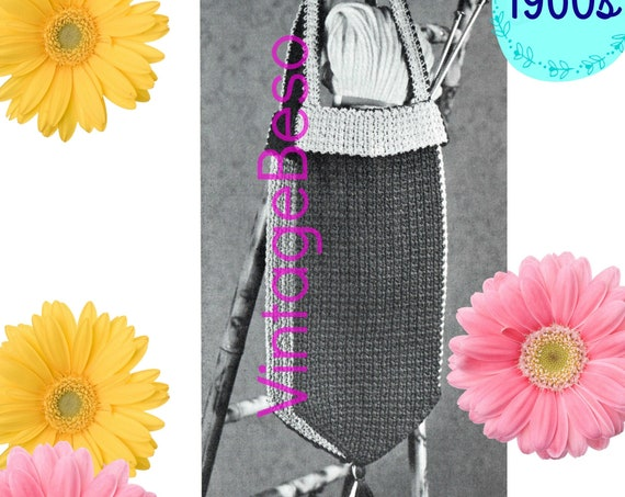 Carry All Bag CROCHET Pattern • Vintage 1960s • Shaped for the Crafter • Holds Yarn Hooks Needles & LONG Goodies • Watermarked PDF Only