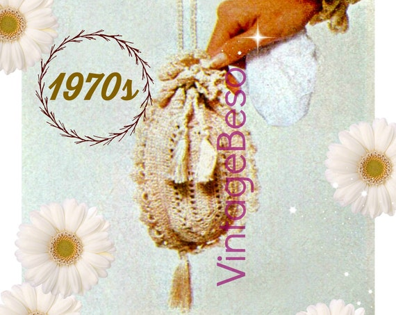 Victorian Pouch Crochet Pattern • 1970s Vintage Bag • Classic Victorian Era Bag Pull Close Tassel • Retro Fun Tote • Watermarked PDF Only