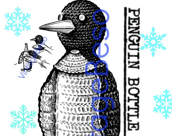 Penguin Bottle Cover CROCHET Pattern • Vintage 1960s • RARE Bottle Cover • near Mad Men era • Penguin Pattern • Watermarked PDF Only