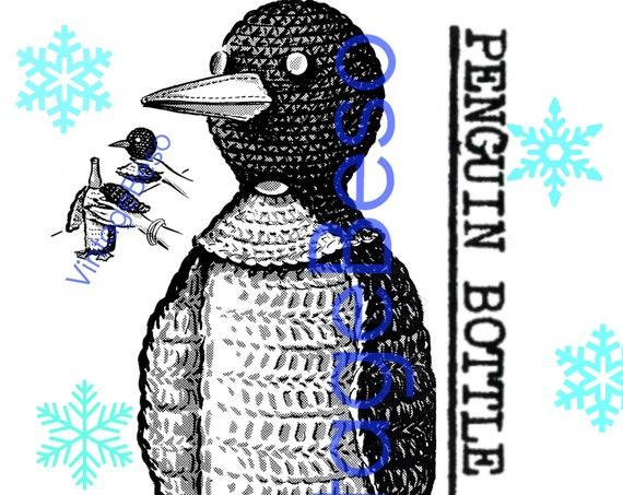 Penguin Bottle Cover CROCHET Pattern • Vintage 1960s • RARE Bottle Cover • near Mad Men era • Penguin Pattern • Watermarked PDF Only