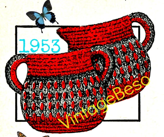 Cream and Sugar Potholder 1953 Vintage Crochet Pattern Sugar 'n Creamer Pan Holders • VintageBeso • Watermarked PDF Only