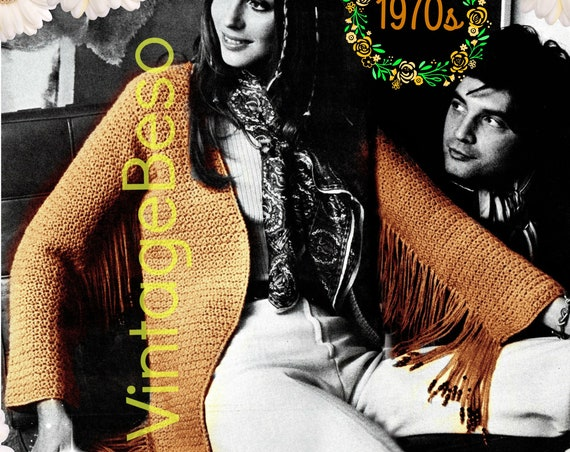 Jacket Crochet Pattern • Fringe Beaded Jacket • Vintage 1970s CROCHET Pattern • Modern Sexy Cowgirl Fringe Jacket • Watermarked PDF Only