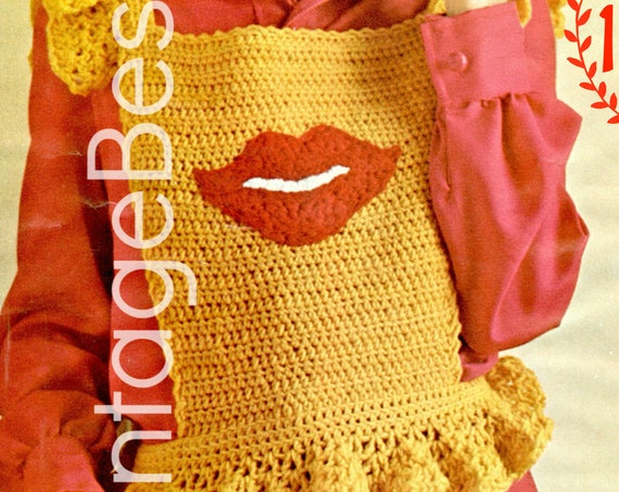 Top CROCHET Pattern Vintage 1970s Beso Lips Shrink CROCHET Pattern Pinafore Bohemian Clothing Valentine's Day Kiss Pdf Pattern Vintage Beso