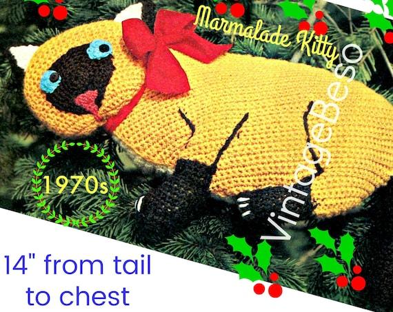 Cat Pillow Crochet Pattern • Instant Download • PDF • Marmalade Kitty • Pussycat Pillow • Vintage Pattern • Christmas Gift • Crochet Cats