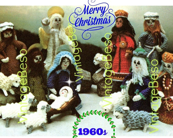 Nativity Crochet PATTERN • Vintage 1960s • Virgin Mary Baby Jesus Joseph Angels Three Kings Creche Pattern • Watermarked PDF Only