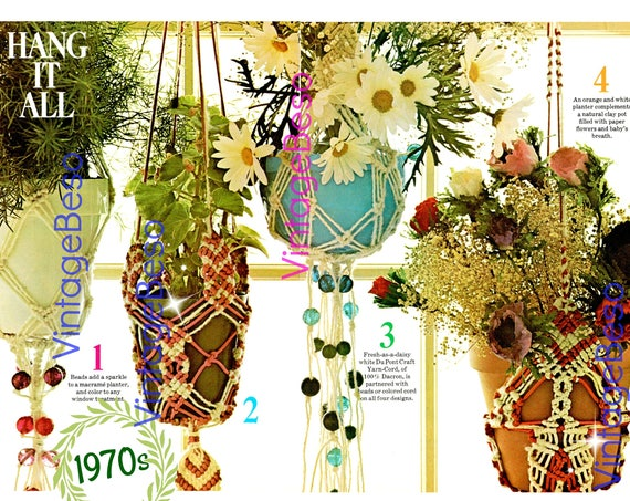 Plant Hanger Macrame Pattern 4 Macrame Patterns 1970s Vintage Planters Lovingly ENLARGED Print and Diagrams • Watermarked PDF Only