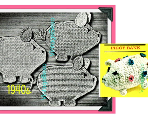 Pig CROCHET Pattern • Vintage 1940s Three Little Piggies Pot Holders Vintage Crochet Pattern and Free Pattern • Watermarked PDF Only