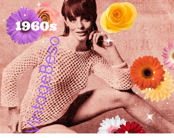 Top Crochet Pattern • Mesh Tops • Vintage 1960s • Long Sleeve • Summer Sass Sexy Lady • UK Crochet Pattern • Digital Pattern • PDF Pattern