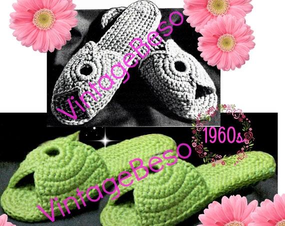 DIGITAL PATTERN • Slippers Crochet Pattern • Women's Scuffs • Women's Slippers • 1960s Vintage • Small Medium Large • PdF Pattern • Retro