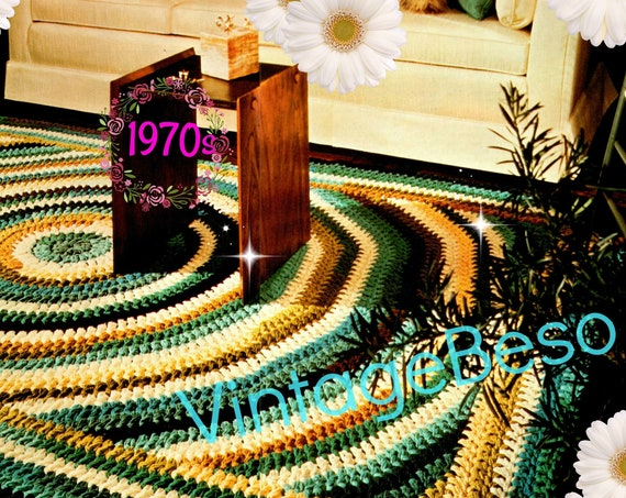 RUG Crochet PATTERN Vintage 1970s • Retro Shaker Style Rug Crochet Pattern Kitchen Bedroom Living Room • Watermarked PDF Only