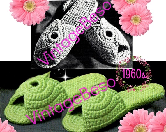 Slippers Crochet Pattern • Women's Scuffs • Women's Slippers • 1960s Vintage • Small Medium Large • Retro • Watermarked PDF Only