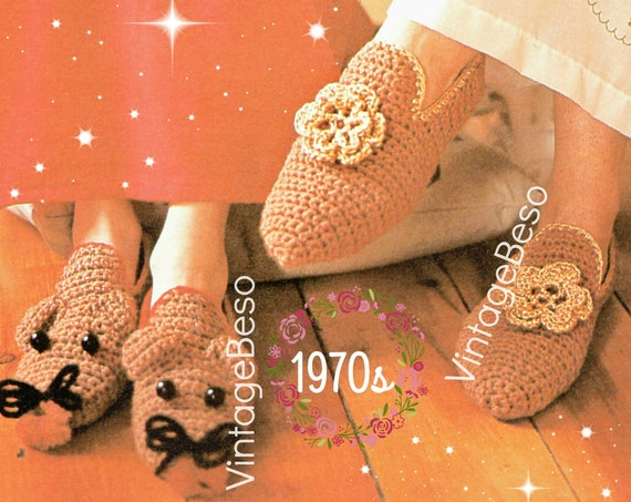 EASY Slippers Crochet Pattern • DIGITAL PATTERN • Mom Ladies Slippers + Child Mouse • QUiCK to Make 1970s Vintage Retro House Shoes • PdF