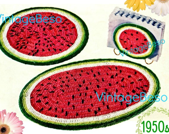 Watermelon Set CROCHET Pattern • Hot Plate Place Mats Napkin Holder Vintage 1950s • Kitchen Gift for New Home Apt • Watermarked PDF Only