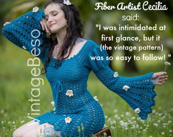 JULIET Dress Crochet Pattern • Ladies Lace Dress Crochet Pattern • Vintage 1960s • Sizes 8 10 12 14 16 18 • Watermarked PDF Only
