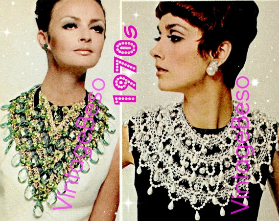 JEWELRY MAKING 2 Guides • 1st an Emerald Bib + 2nd a Pearl Collar • 1970s High Fashion makes you Stand Out even Today • Watermarked PDF Only