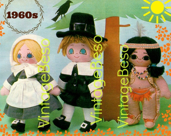 Thanksgiving Doll SEWING Pattern + 2 Free Gifts • PDF • Vintage 1960s Pilgrim Doll • Retro Indian Doll • Instant Download • PDF Only