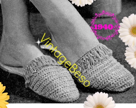 Slippers Crochet PATTERN • Vintage 1940s Looped Scuffs • Digital Download • Instant Download • PDF Pattern