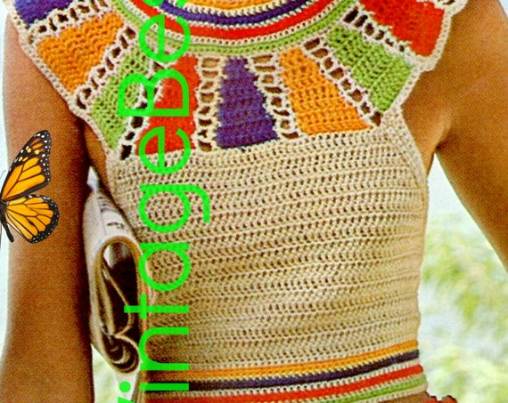 Sexy Egyptian Collar Halter Top • Top DIGITAL PATTERN • Ladies Top Crochet Pattern • PdF • Halter • Pullover • Vintage 1970s Sexy Summer Top