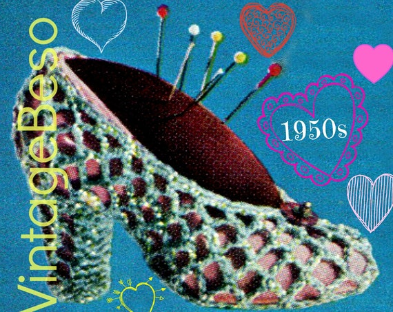 Slipper CROCHET Pattern • Retro 1950s High Heel Shoe Pin Cushion • Vintage Valentine's Day • Home • Gift • Watermarked PDF Only