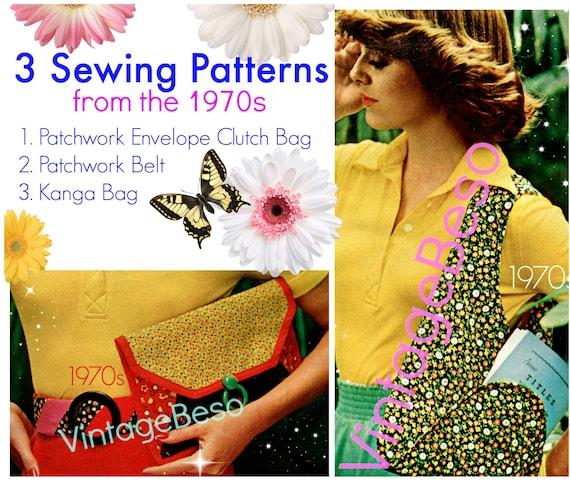 3 Patterns Clutch Bag SEWING PATTERN 1970s Shoulder Bag Sewing Pattern Patchwork Belt Sewing Pattern Kanga Bag Instant Download PDF Pattern