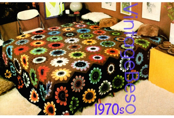Peony Afghan Crochet Pattern •  Vintage 1970s Afghan Crochet Pattern • Bedspread • Crochet Throw • Blanket Cover Home • Watermarked PDF Only