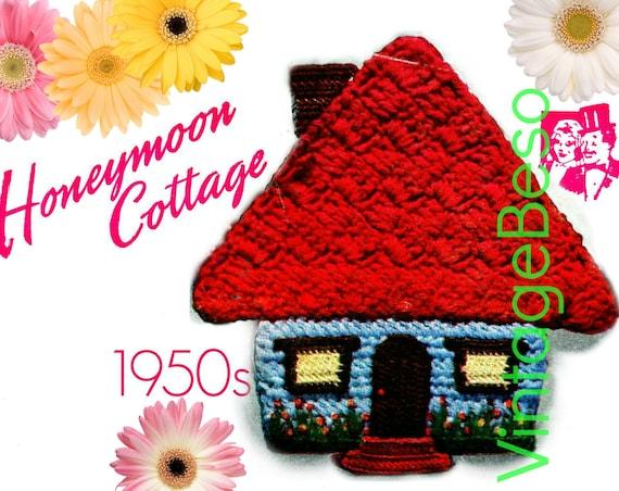 Honeymoon Cottage Potholder CROCHET Pattern • PdF Pattern • Vintage 1950s Digital • Super Cute for Bridal Shower DIY Wedding Potholders