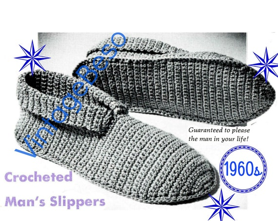 Slippers Crochet Pattern • Man's Slippers • Men's Slippers • 1960s Vintage Father's Day • Small Medium Large • Retro • Watermarked PDF Only