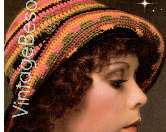 Hat Crochet Pattern Vintage 1970s Flapper Style 1920s Rainbow Cloche Roll Up Hat Folk Roaring Twenties Brim Hat • Watermarked PDF Only