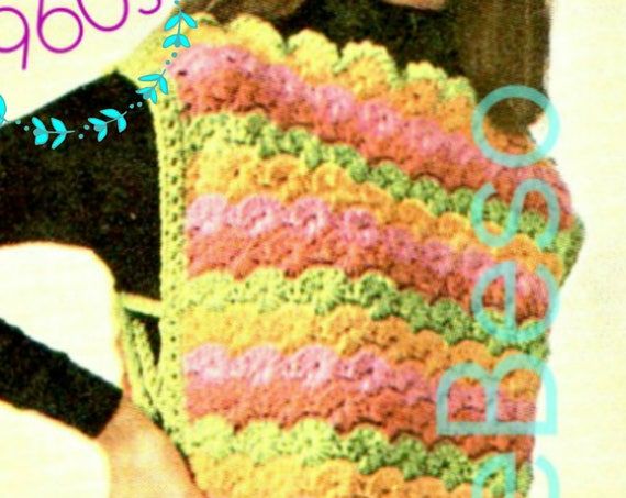 INSTANT DOWNlOAD • PdF Pattern • Tabard Crochet Pattern • Shell Crochet Pattern • Colorful Vintage 1960s Top Crochet Pattern • Vintage Beso