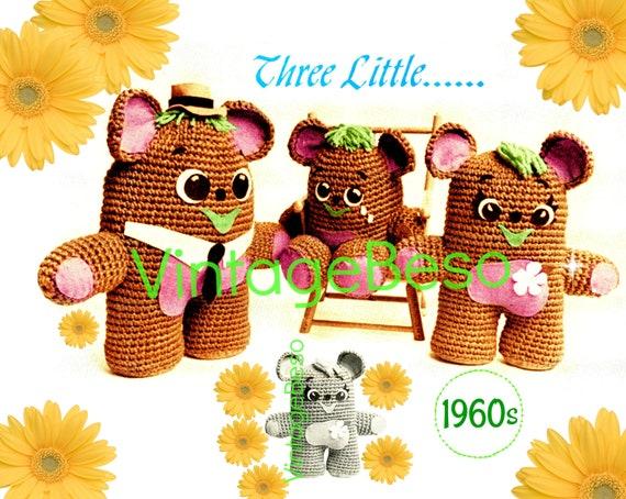 Bear Crochet Pattern • Vintage 1960s Three Little Bears Family Crochet Pattern • Soft Toy Pattern • Instant Download • PdF Pattern • Digital