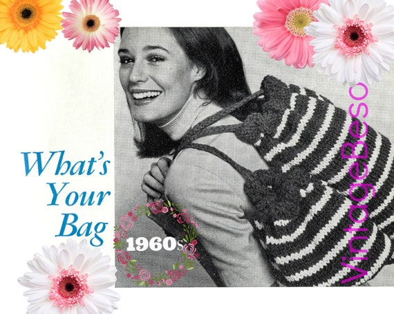 EASY Bag Knitting Pattern 1960s • Duffle Bag Knit Pattern • Satchel • Retro Tote • Striped Drawstring Bags • Watermarked PDF Only