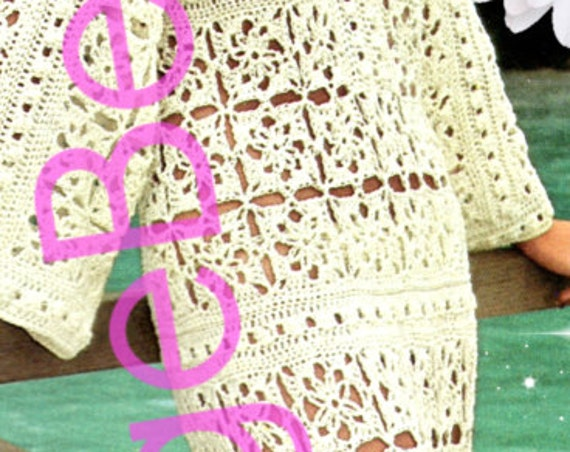 Caftan Dress Crochet Pattern • 70s Lace Beach Retro Ladies Swimsuit Cover Up Maxi • Vintage Crochet Pattern • Instant Download • PDF Pattern