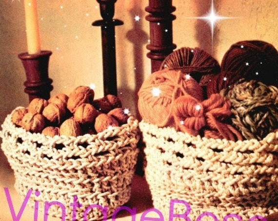 Baskets Crochet Pattern • 1970s Baskets Pattern • EASY to Make Works Up FAST Retro Home Decor Vintage Beso • Watermarked PDF Only
