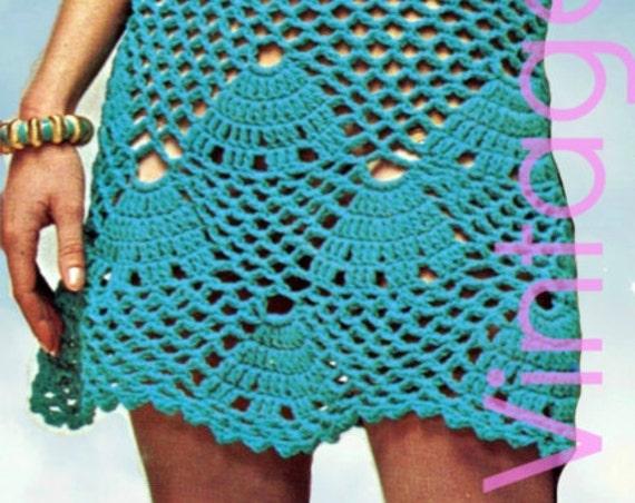 1970s Dress Vintage Crochet PATTERN • INSTANT DOWNlOAD • PdF Pattern • Shell Summer Dress Seashell Coverup VintageBeso