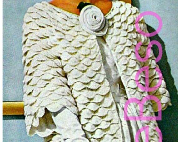 Easy Coat Crochet Pattern • Retro 1960s Elegant Lady Evening Coat • Crochet Pattern Crocodile Mad Men Shell • Watermarked PDF Only