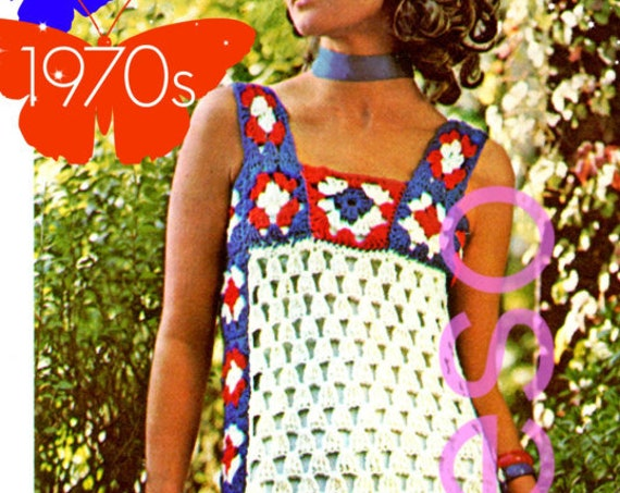 EASY Dress Crochet PATTERN • Boho Summer • Patriotic • Vintage 1970s Granny Square Gown Ladies Patio Wear Maxi Dress • Watermarked PDF Only