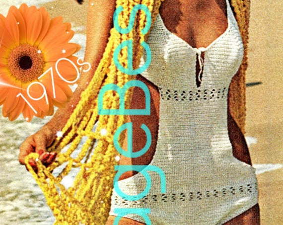Instant Download • PDF Pattern • Swimsuit CROCHET PATTERN • 1970s Vintage Pattern • Sexy One Piece Swimsuit and Giant Summer Stole Wrap