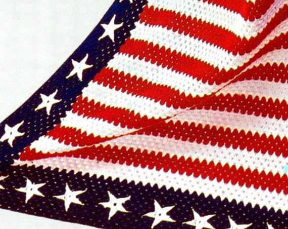 EASY Crochet Pattern • Vintage 1970s Stars and Bars AFGHAN American Flag • Patriotic • Independence Day Afghan • Watermarked PDF Only