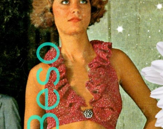 Sexy Ruffle Halter Top Vintage Crochet Pattern • 1970s Crochet Pattern • Top Crochet Pattern • Halter Crochet Pattern • Watermarked PDF Only