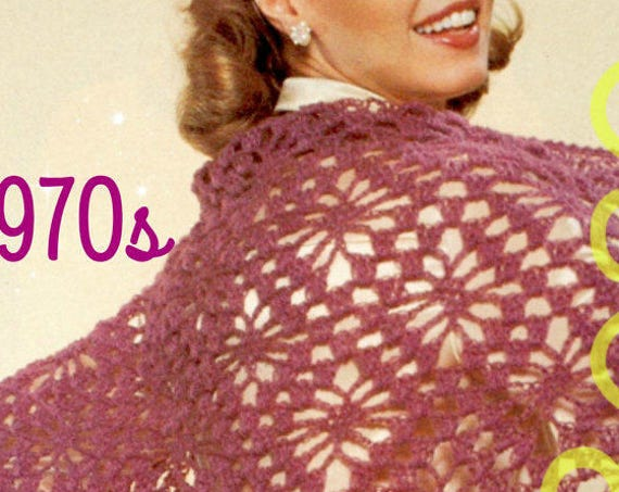 Shawl Crochet Pattern • 70s Romantic Star Motif Shawl • Vintage Pattern Lace Stole Evening Shawl Prom Dress • Watermarked PDF Only
