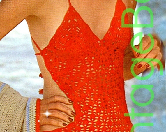 Monokini Crochet Pattern • 1970s Swimsuit • Vintage Red Maillot • Sexy One Piece Swimsuit • Bra • Vintage Beso • Watermarked PDF Only