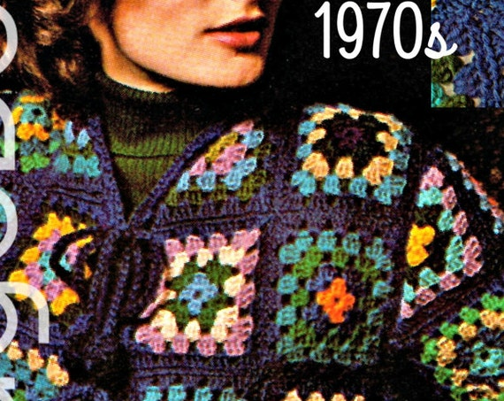 Granny Square Jacket Crochet Pattern • 1970s Motif Style • Classic Out of the Blue Coat • Retro • Vintage Crochet • Watermarked PDF Only
